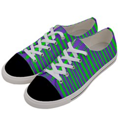 Bright Green Purple Stripes Pattern Women s Low Top Canvas Sneakers by BrightVibesDesign