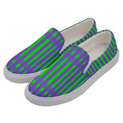 Bright Green Purple Stripes Pattern Men s Canvas Slip Ons by BrightVibesDesign