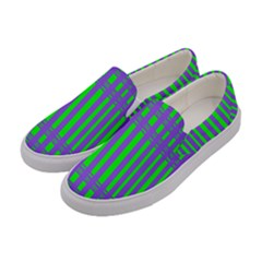 Bright Green Purple Stripes Pattern Women s Canvas Slip Ons by BrightVibesDesign