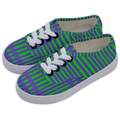 Bright Green Purple Stripes Pattern Kids  Classic Low Top Sneakers by BrightVibesDesign