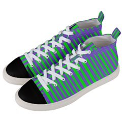 Bright Green Purple Stripes Pattern Men s Mid Top Canvas Sneakers by BrightVibesDesign
