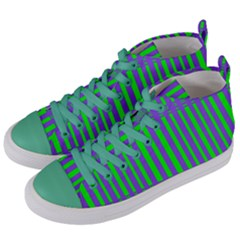 Bright Green Purple Stripes Pattern Women s Mid Top Canvas Sneakers by BrightVibesDesign