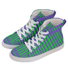 Bright Green Purple Stripes Pattern Men s Hi Top Skate Sneakers by BrightVibesDesign