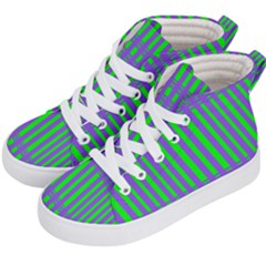 Bright Green Purple Stripes Pattern Kid s Hi Top Skate Sneakers by BrightVibesDesign