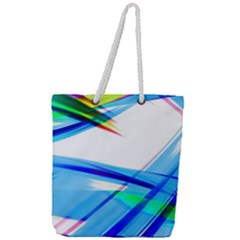 Lines Vibrations Wave Pattern Full Print Rope Handle Tote (large)