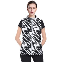 Black And White Wave Abstract Women s Puffer Vest