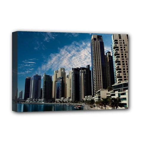 Skyscraper City Architecture Urban Deluxe Canvas 18  X 12   by Celenk