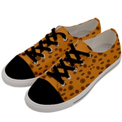 Brown Circle Pattern On Yellow Men s Low Top Canvas Sneakers by BrightVibesDesign