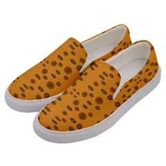 Brown Circle Pattern On Yellow Men s Canvas Slip Ons by BrightVibesDesign
