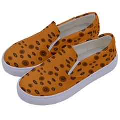 Brown Circle Pattern On Yellow Kids  Canvas Slip Ons by BrightVibesDesign