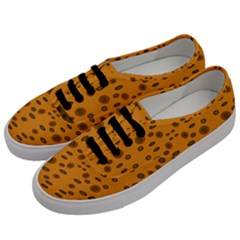Brown Circle Pattern On Yellow Men s Classic Low Top Sneakers by BrightVibesDesign