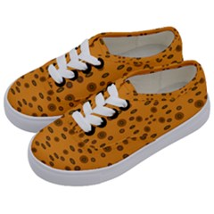 Brown Circle Pattern On Yellow Kids  Classic Low Top Sneakers by BrightVibesDesign