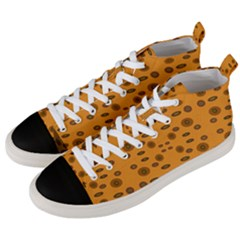 Brown Circle Pattern On Yellow Men s Mid Top Canvas Sneakers by BrightVibesDesign