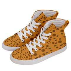 Brown Circle Pattern On Yellow Women s Hi Top Skate Sneakers by BrightVibesDesign
