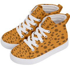 Brown Circle Pattern On Yellow Kid s Hi Top Skate Sneakers by BrightVibesDesign