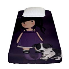 Dolly Girl And Dog Fitted Sheet (single Size) by Valentinaart