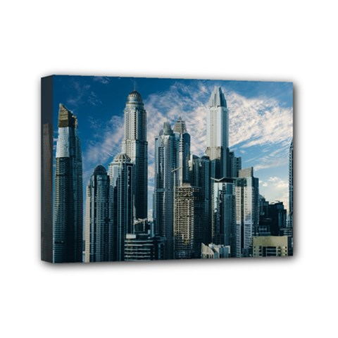 Skyscraper Cityline Urban Skyline Mini Canvas 7  X 5  by Celenk