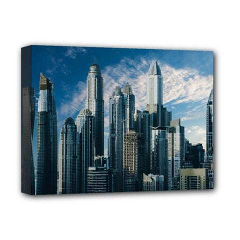 Skyscraper Cityline Urban Skyline Deluxe Canvas 16  X 12   by Celenk