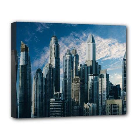 Skyscraper Cityline Urban Skyline Deluxe Canvas 20  X 16   by Celenk