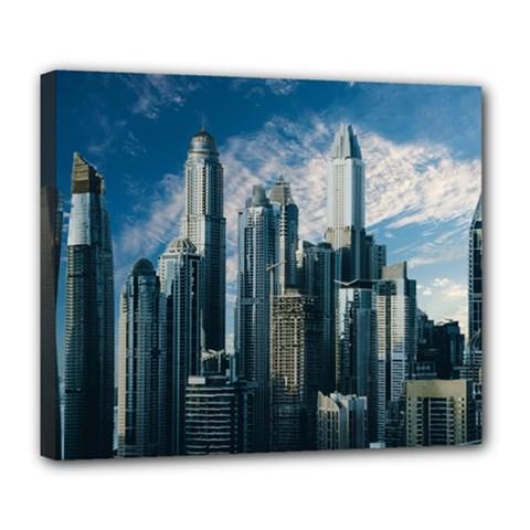 Skyscraper Cityline Urban Skyline Deluxe Canvas 24  X 20   by Celenk