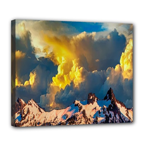 Mountains Clouds Landscape Scenic Deluxe Canvas 24  X 20