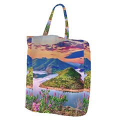 Landscape River Nature Water Sky Giant Grocery Zipper Tote