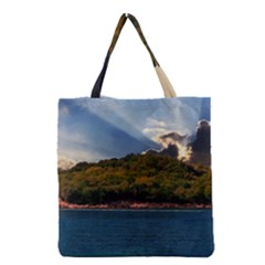 Island God Rays Sky Nature Sea Grocery Tote Bag by Celenk