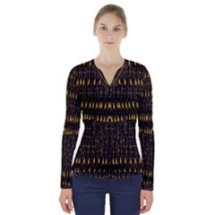 Hot As Candles And Fireworks In The Night Sky V Neck Long Sleeve Top