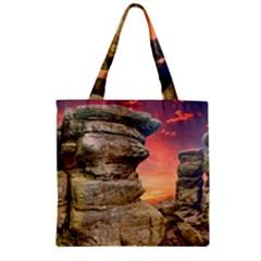 Rocks Landscape Sky Sunset Nature Zipper Grocery Tote Bag by Celenk
