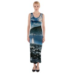 Shore Mountain Water Landscape Fitted Maxi Dress by Celenk