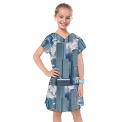 Tower Blocks Skyscraper City Modern Kids  Drop Waist Dress