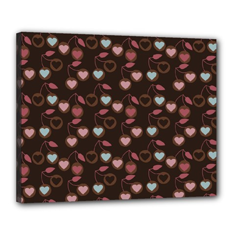 Heart Cherries Brown Canvas 20  X 16  by snowwhitegirl