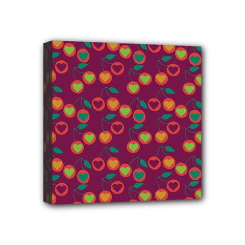 Heart Cherries Magenta Mini Canvas 4  X 4  by snowwhitegirl