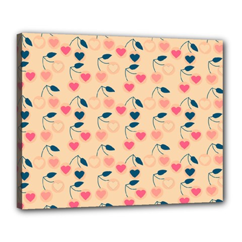 Heart Cherries Cream Canvas 20  X 16  by snowwhitegirl