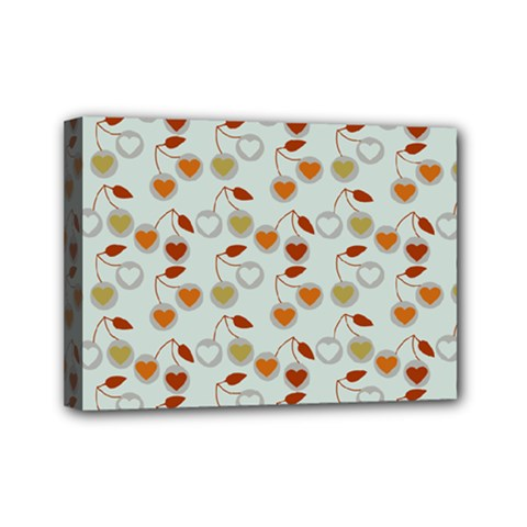Heart Cherries Grey Mini Canvas 7  X 5  by snowwhitegirl