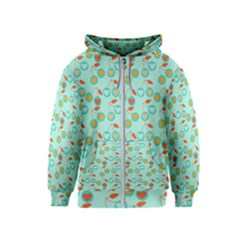 Light Teal Heart Cherries Kids  Zipper Hoodie by snowwhitegirl