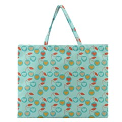 Light Teal Heart Cherries Zipper Large Tote Bag by snowwhitegirl