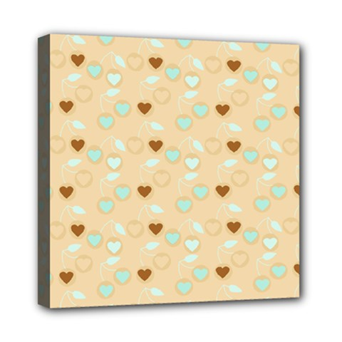 Beige Heart Cherries Mini Canvas 8  X 8  by snowwhitegirl