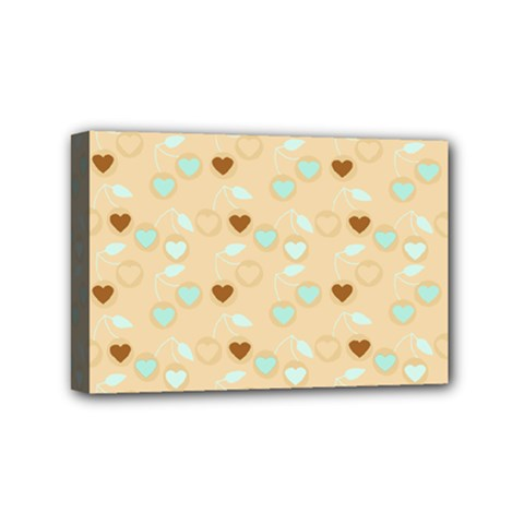 Beige Heart Cherries Mini Canvas 6  X 4  by snowwhitegirl