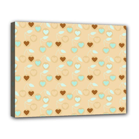 Beige Heart Cherries Canvas 14  X 11  by snowwhitegirl