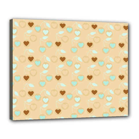 Beige Heart Cherries Canvas 20  X 16  by snowwhitegirl