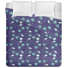 Heart Cherries Blue Duvet Cover Double Side (california King Size) by snowwhitegirl