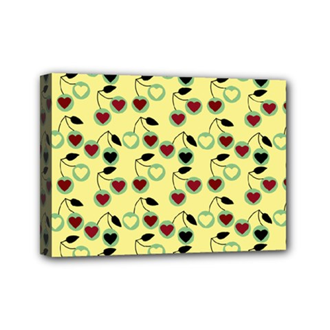 Yellow Heart Cherries Mini Canvas 7  X 5  by snowwhitegirl