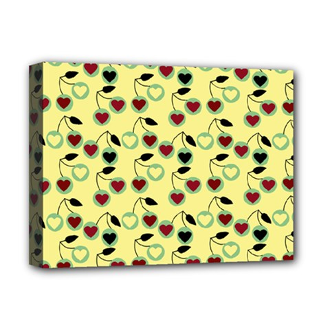 Yellow Heart Cherries Deluxe Canvas 16  X 12   by snowwhitegirl