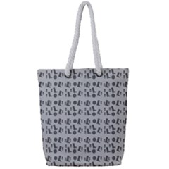 Boots Grey Full Print Rope Handle Tote (small)