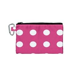 Pink Dot Canvas Cosmetic Bag (small) by snowwhitegirl