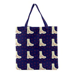 Navy Boots Grocery Tote Bag by snowwhitegirl