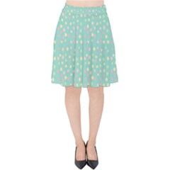 Light Teal Hearts Velvet High Waist Skirt by snowwhitegirl