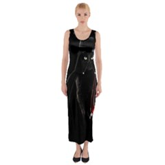 Darth Vader Cat Fitted Maxi Dress by Valentinaart