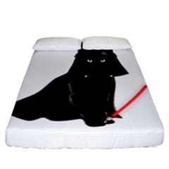 Darth Vader Cat Fitted Sheet (california King Size) by Valentinaart